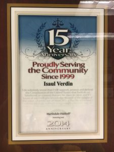 2014 - Martindale- Hubell Award for Proudly Serving the Community 15 years