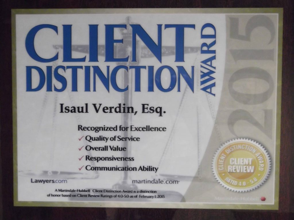 Isaul Verdin, 2015 Client Distinction Award from Martindale- Hubbell