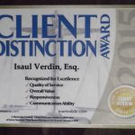 Isaul Verdin received 2015 Client Distinction Award from Martindale- Hubbell