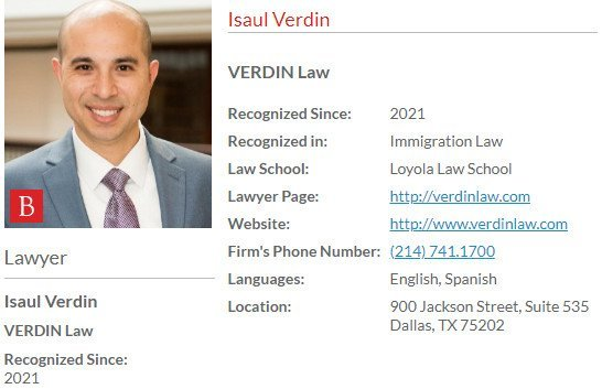 Isaul Verdin Profile - Included in 27th Edition of The Best Lawyers in America© 2021